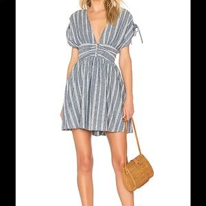 NWOT Free People Linen Blue White Striped Dress